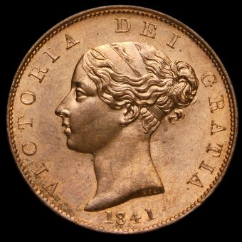 1841 Queen Victoria Young Head Copper Halfpenny Obverse