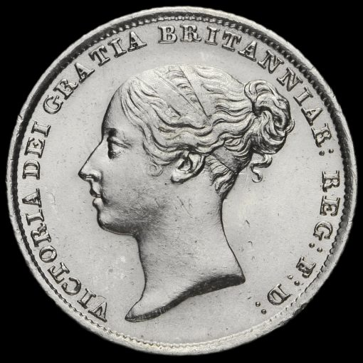 1845 Queen Victoria Young Head Silver Sixpence Obverse
