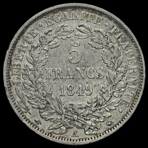 France 1849 Silver 5 Francs Reverse