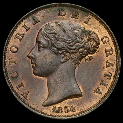 1854 Queen Victoria Young Head Copper Halfpenny Obverse