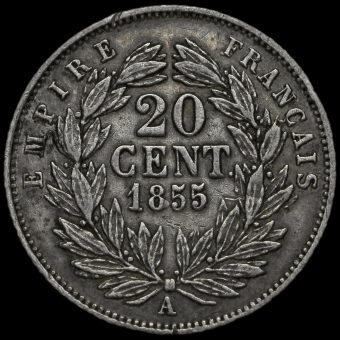 France 1855 Napoleon III Silver 20 Centimes Reverse
