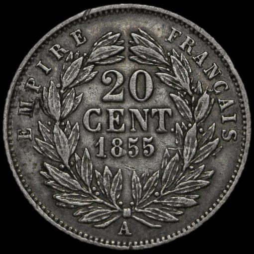 France 1855 Napoleon III Silver 20 Centimes Reverse