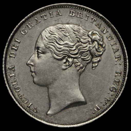 1855 Queen Victoria Young Head Silver Shilling Obverse