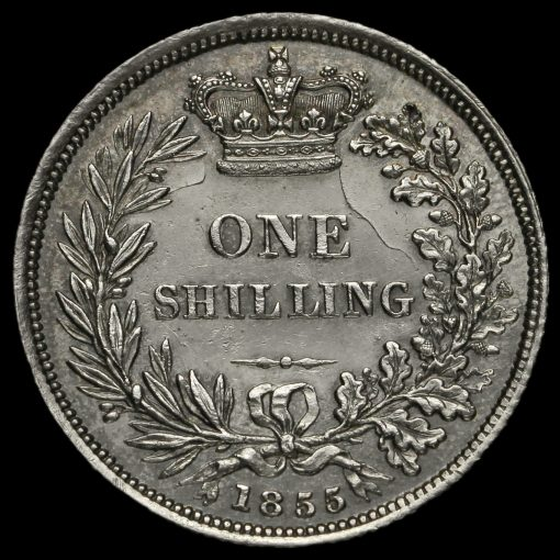 1855 Queen Victoria Young Head Silver Shilling Reverse