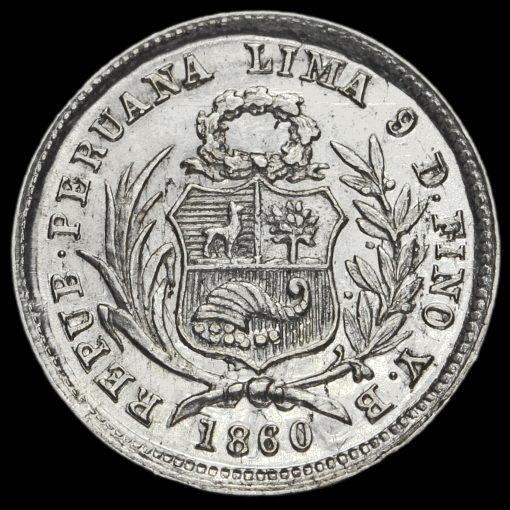 Peru 1860 Silver 1/2 Real Obverse