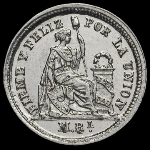 Peru 1860 Silver 1/2 Real Reverse