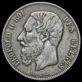 Belgium 1871 Leopold II Silver 5 Francs Obverse