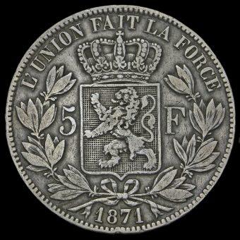 Belgium 1871 Leopold II Silver 5 Francs Reverse