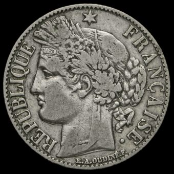 France 1872 Silver 1 Franc Obverse