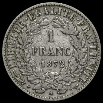 France 1872 Silver 1 Franc Reverse