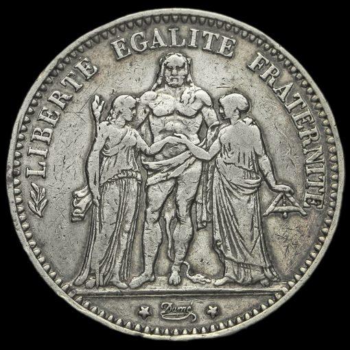 France 1873 Silver 5 Francs Obverse