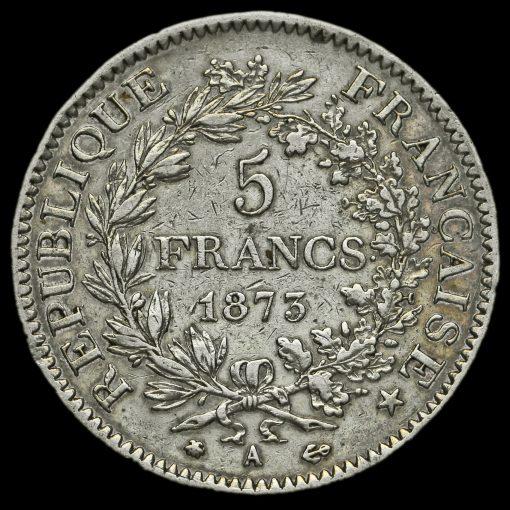 France 1873 Silver 5 Francs Reverse