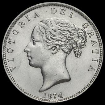 1874 Young Head Silver Half Crown Obverse