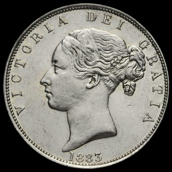1883 Queen Victoria Young Head Silver Half Crown Obverse