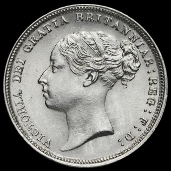 1884 Queen Victoria Young Head Silver Sixpence Obverse