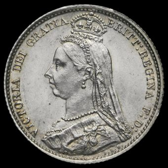 1887 Queen Victoria Jubilee Head Silver Sixpence Obverse