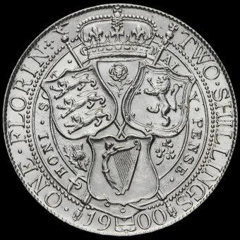 1900 Queen Victoria Veiled Head Silver Florin Reverse