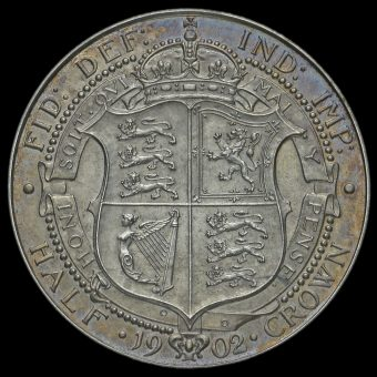 1902 Edward VII Silver Matt Proof Half Crown Reverse