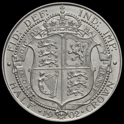 1902 Edward VII Silver Matt Proof Half Crown Reverse