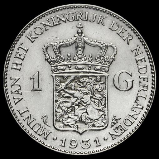 Netherlands 1931 Silver 1 Gulden Reverse