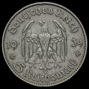Germany 1934 J Silver 5 Reichsmark Obverse