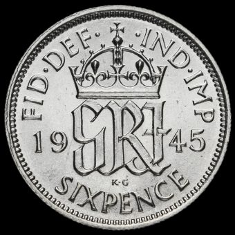 1945 George VI Silver Sixpence Reverse