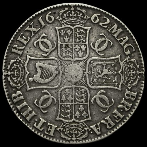 1662 Charles II Early Milled Silver Crown Reverse
