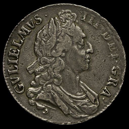 1695 William III Early Milled Silver Septimo Crown Obverse