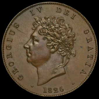 1826 George IV Milled Copper Halfpenny Obverse