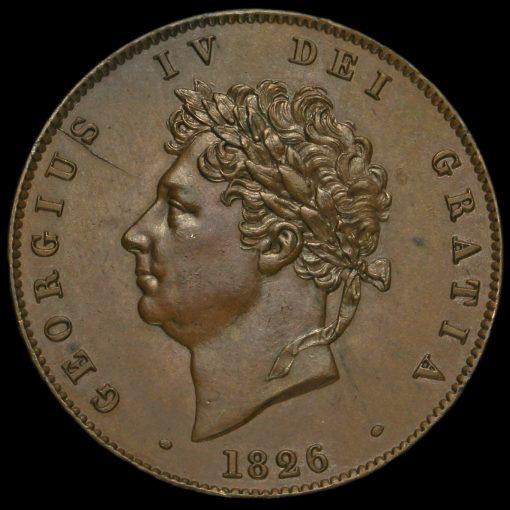 1826 George IV Milled Copper Halfpenny Obverse
