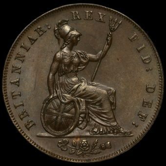 1826 George IV Milled Copper Halfpenny Reverse