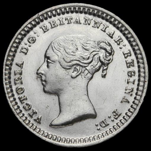 1843 Queen Victoria Young Head Silver Three-Halfpence Obverse