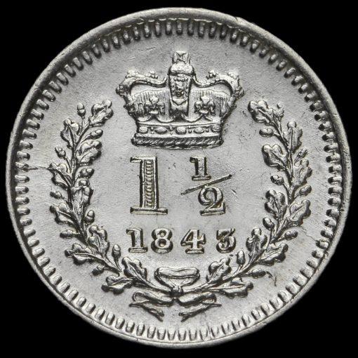 1843 Queen Victoria Young Head Silver Three-Halfpence Reverse