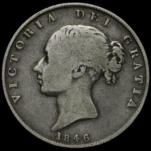 1846 Queen Victoria Young Head Silver Half Crown Obverse