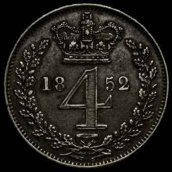 1852 Queen Victoria Young Head Silver Maundy Fourpence Reverse