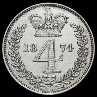1874 Queen Victoria Silver Maundy Fourpence Reverse