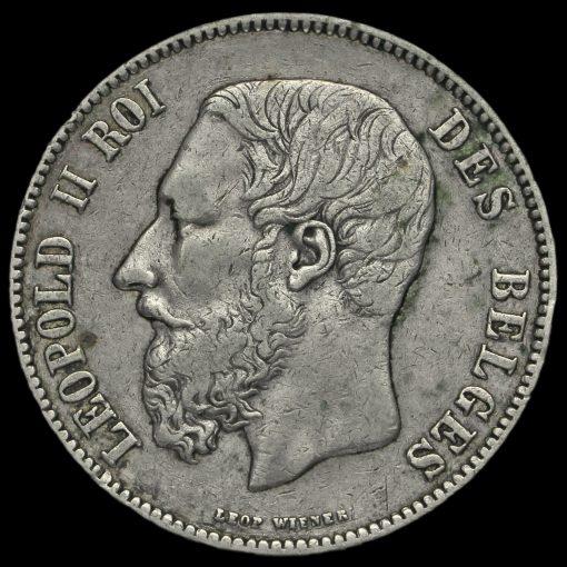 Belgium 1875 Leopold II Silver 5 Francs Obverse