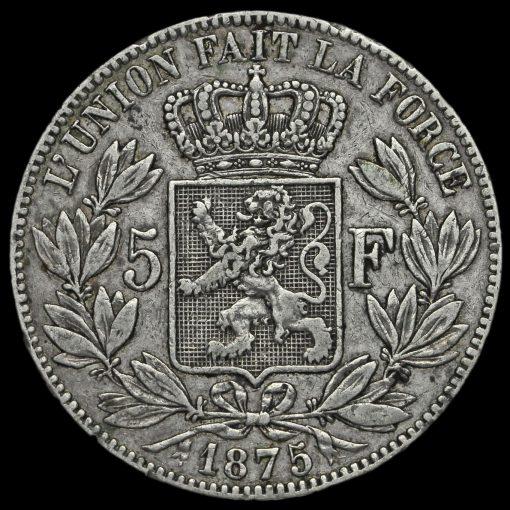 Belgium 1875 Leopold II Silver 5 Francs Reverse