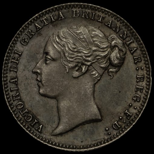 1877 Queen Victoria Young Head Silver Sixpence Obverse