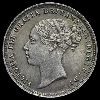 1886 Queen Victoria Young Head Silver Sixpence Obverse