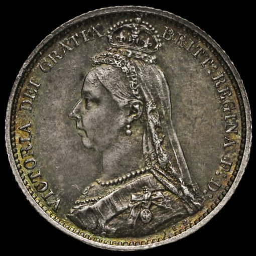 1889 Queen Victoria Jubilee Head Silver Sixpence Obverse