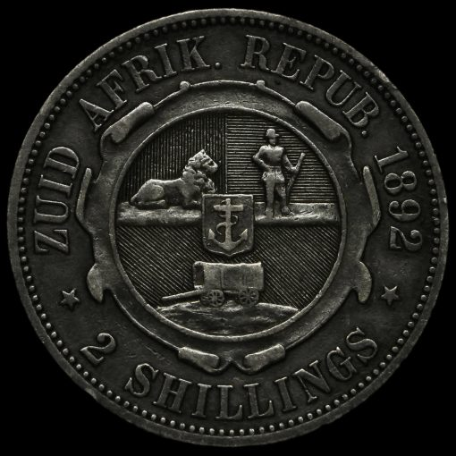 South Africa 1892 Silver 2 Shillings Reverse