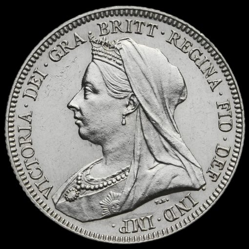1893 Queen Victoria Veiled Head Silver Shilling Obverse