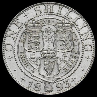 1893 Queen Victoria Veiled Head Silver Shilling Reverse