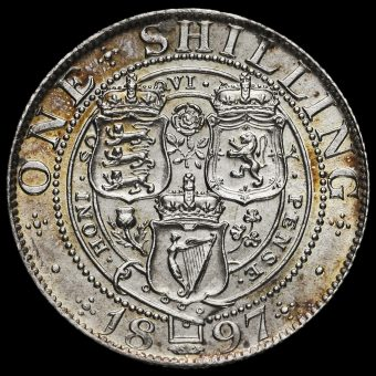1897 Queen Victoria Veiled Head Silver Shilling Reverse