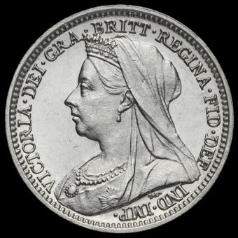 1899 Queen Victoria Veiled Head Silver Maundy Threepence Obverse