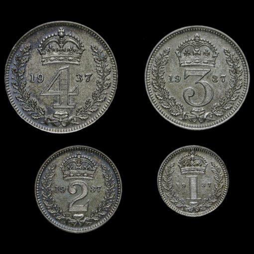 1937 George VI Silver Proof Maundy Set Reverse