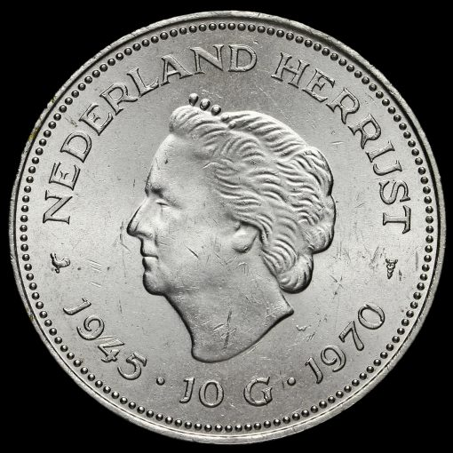 Netherlands 1970 Silver 10 Gulden Reverse
