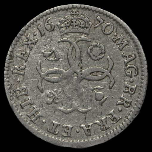 1670 Charles II Early Milled Silver Maundy Fourpence Reverse