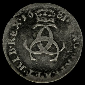 1681 Charles II Early Milled Silver Maundy Threepence Reverse